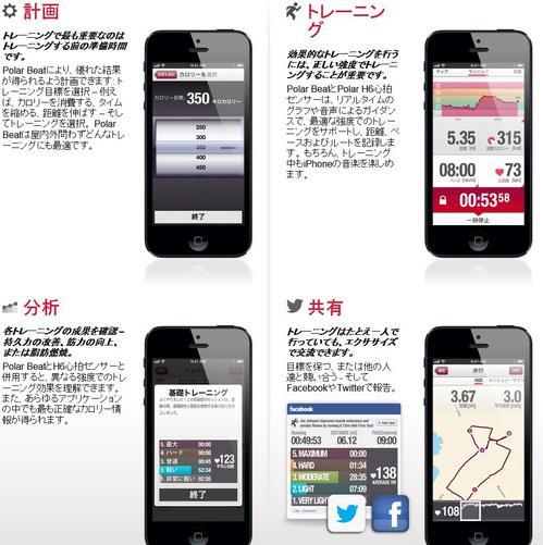 心拍計ランニング・ジョギングiphone  POLARポラール H7 心拍センサー 対応アプリPolar Beat(ポラール ビート) などiPhone5やiPhone4sのアプリに対応